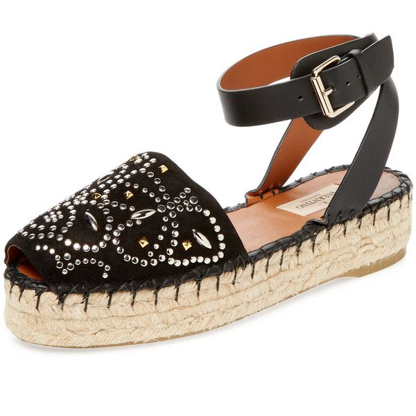 Valentino Garavani Women's Studded Butterfly Suede Espadrille - Black,... (1.612.360 COP) ❤ liked on Polyvore featuring shoes, sandals, black, black suede sandals, black suede shoes, black sandals, black studded sandals and suede sandals