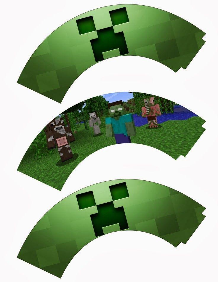 Minecraft: Wrappers y Toppers para Cupcakes para Imprimir Gratis.