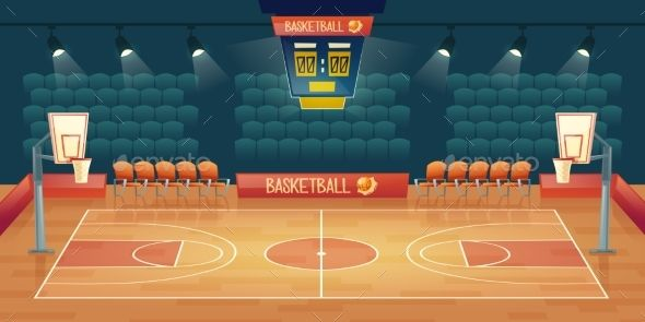 Vector Cartoon Background Of Empty Basketball Cartoon Vector Background Basketball Fondos De Escenarios Canchas Cancha De Baloncesto