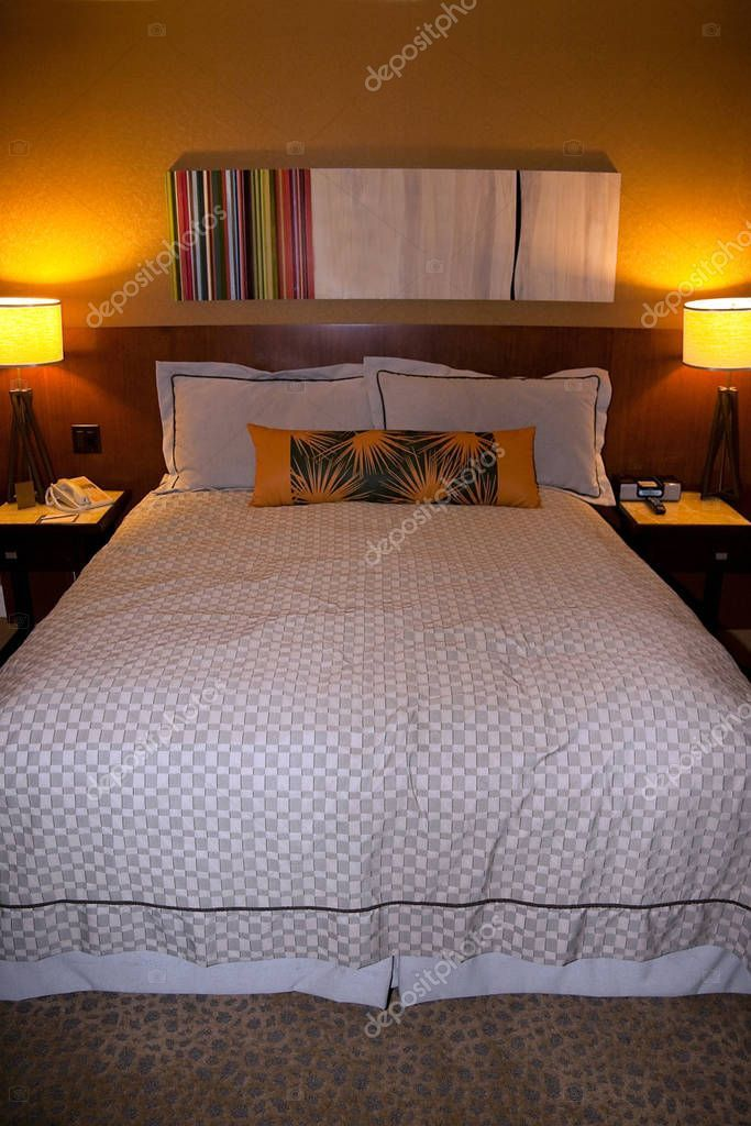 Queen Size Hotel Bed Lights Stock Photo , spon, Hotel