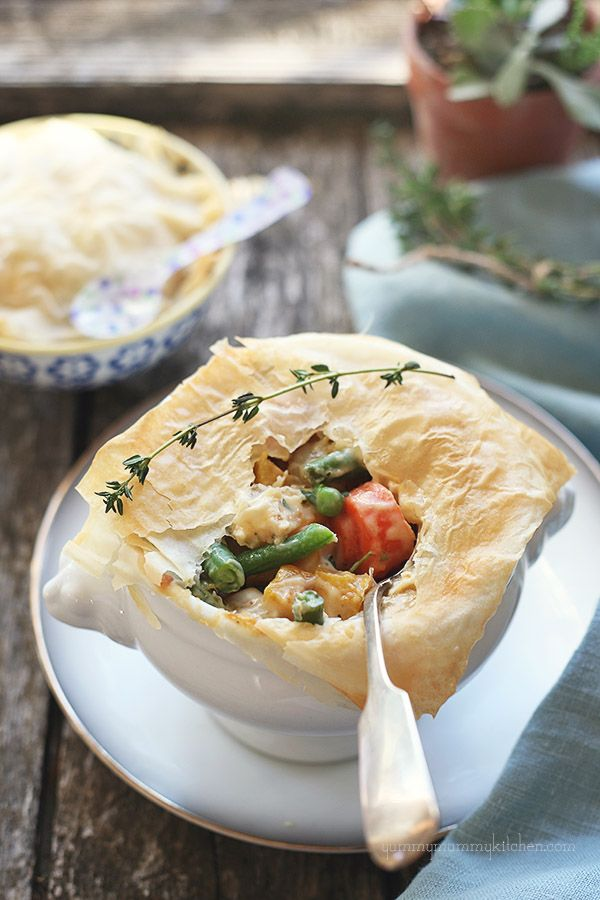 Lightened Up Veggie Pot Pie from YummyMummyKitchen.com     Perfect for Thanksgiving leftovers... or any day!