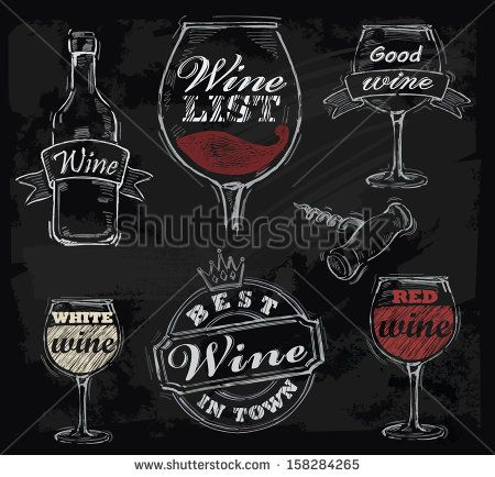 vector chalk wine set on chalkboard background - stock vector