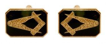 Masonic Rectangle Black Enamel Cufflinks - £25.99