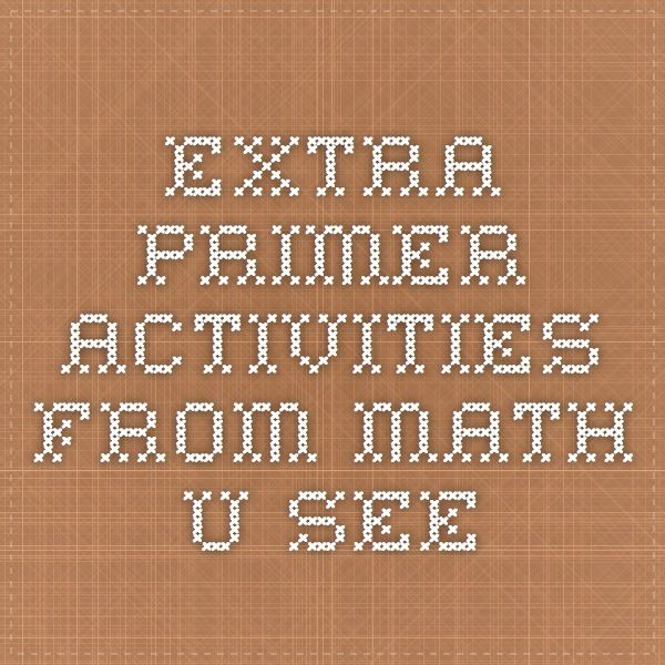 extra primer activity pages from Math-U-See