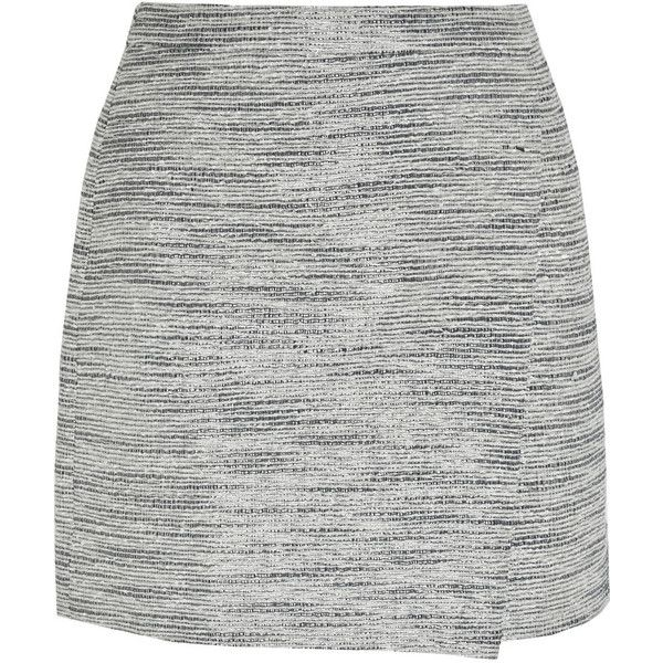 J.Crew Origami wrap-effect metallic tweed mini skirt found on Polyvore