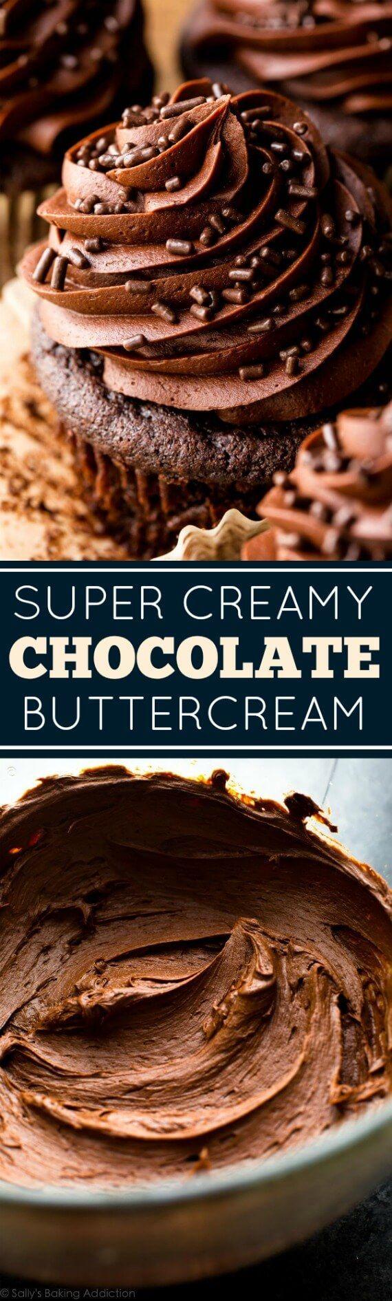 Deliciously soft, creamy, silky, and easy PERFECT chocolate buttercream recipe! sallysbakingaddiction.com
