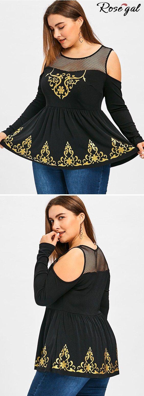 Free shipping worldwide.Plus Size Fishnet Trim Cold Shoulder Peplum T-shirt. #tshirts #plus size outfits #fishnet #cold shoulder #womens fashion