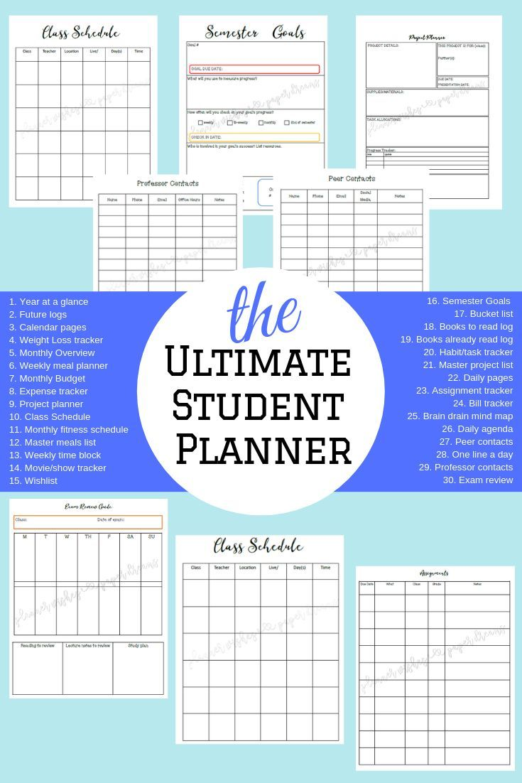 ultimate college student academic daily planner and organization