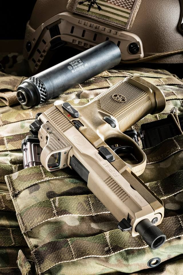 FN FNP .45 Tactical semi-automatic pistol with suppressor