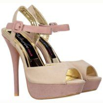 Ladies Womens Beige Purple Two Tone Suede Peep Toe High Heels - Strappy Sandals - Ice / Dusty Pink Suede