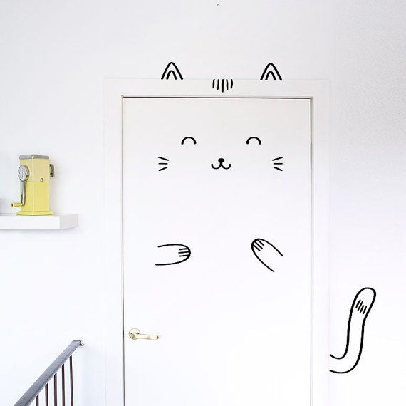 Sisi le décalque béat chat porte / Wall decal pour portes, fenêtres ou placards / Nursery décor / chat Vinyl autocollant