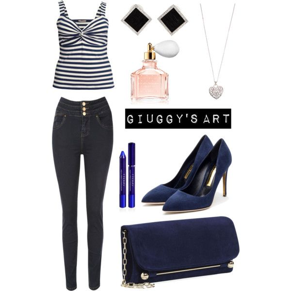 Blue Strips by giuggysart on Polyvore featuring polyvore, moda, style, H&M, Jane Norman, Rupert Sanderson, Yvel, Accessorize, By Terry and Guerlain