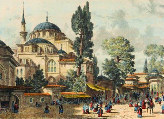 Painting of Kılıç Ali Pasha Mosque in Istanbul, Turkey
