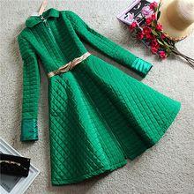 2015 nouveau automne hiver veste manteau femmes ouatée Parka femme Big Swing jupe manteaux rembourrés de coton rose vert noir femme vêtements(China (Mainland))