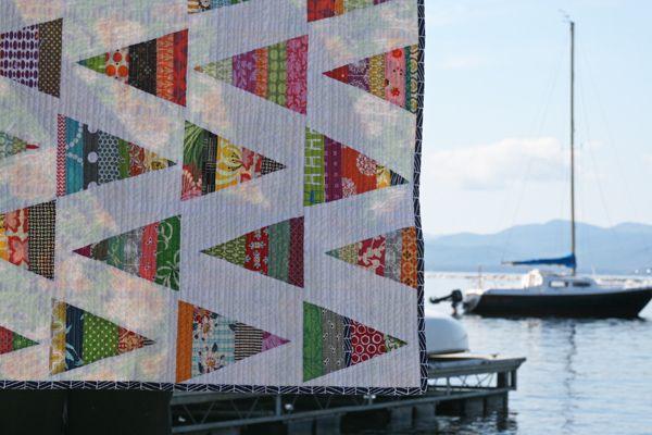 Nautical Quilt. Scrappy triangle block tutorial. {Film in the Fridge}