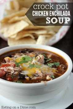 Try this Easy Chicken Enchilada Soup Recipe that I just know your family will love. Toss it all in the crock pot and come home to an amazing dinner!