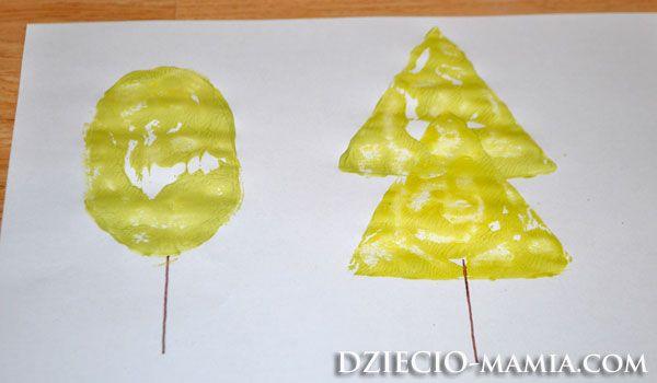 trees, shapes, paint, stamps, dziecio-mamia.com
