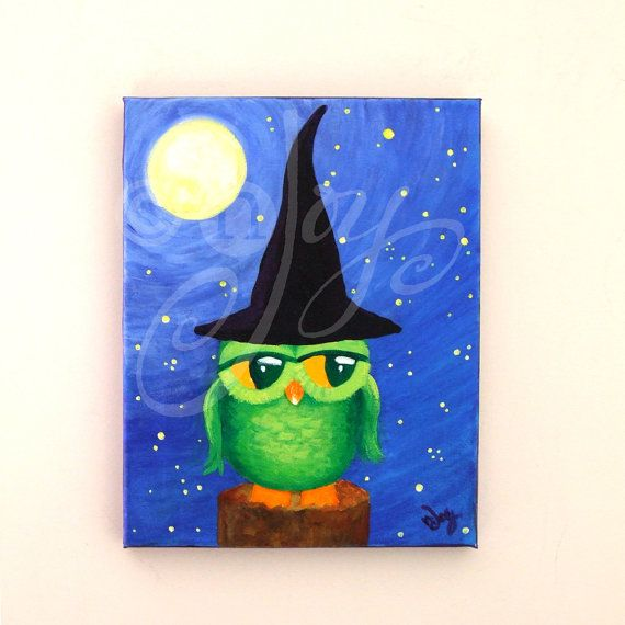 Whimsical Owl Painting, OWL WITCH, 8x10 Home Decor Wall Art