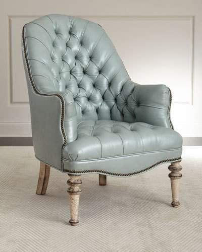 Old Hickory Tannery Mint Tufted Leather Chair