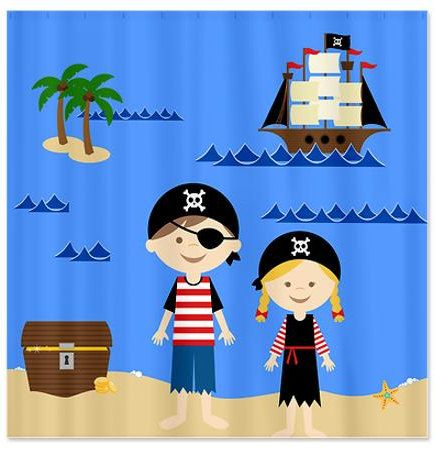 Pirate Life Kids Shower Curtain by HappywoodGoods on Etsy,