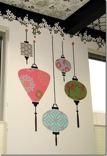 Stencil para personalizar as suas paredes- lanternas japonesas | Vila do Artesão