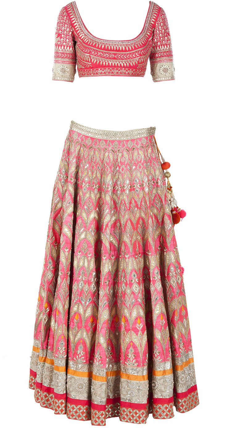 Coral gota pati embroidered lehenga available only at Pernia's Pop-Up Shop.