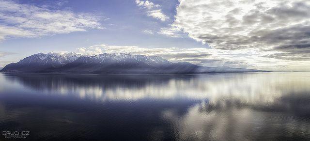 Lake Geneva - French Alps shot from Switzerland