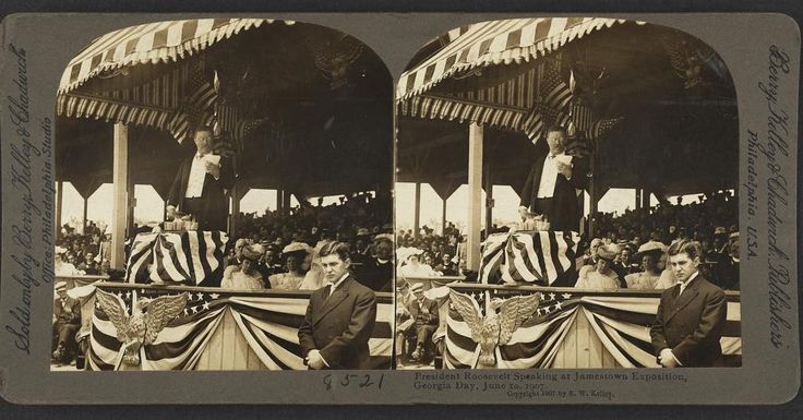 President Theodore Roosevelt speaking to a crowd gathered at the Jamestown Exposition on June 10th, 1907. The exposition was located at Sewell's Point, present day Naval Station Norfolk.  Time to break out your Steroviewer for this one! Photo: LOC