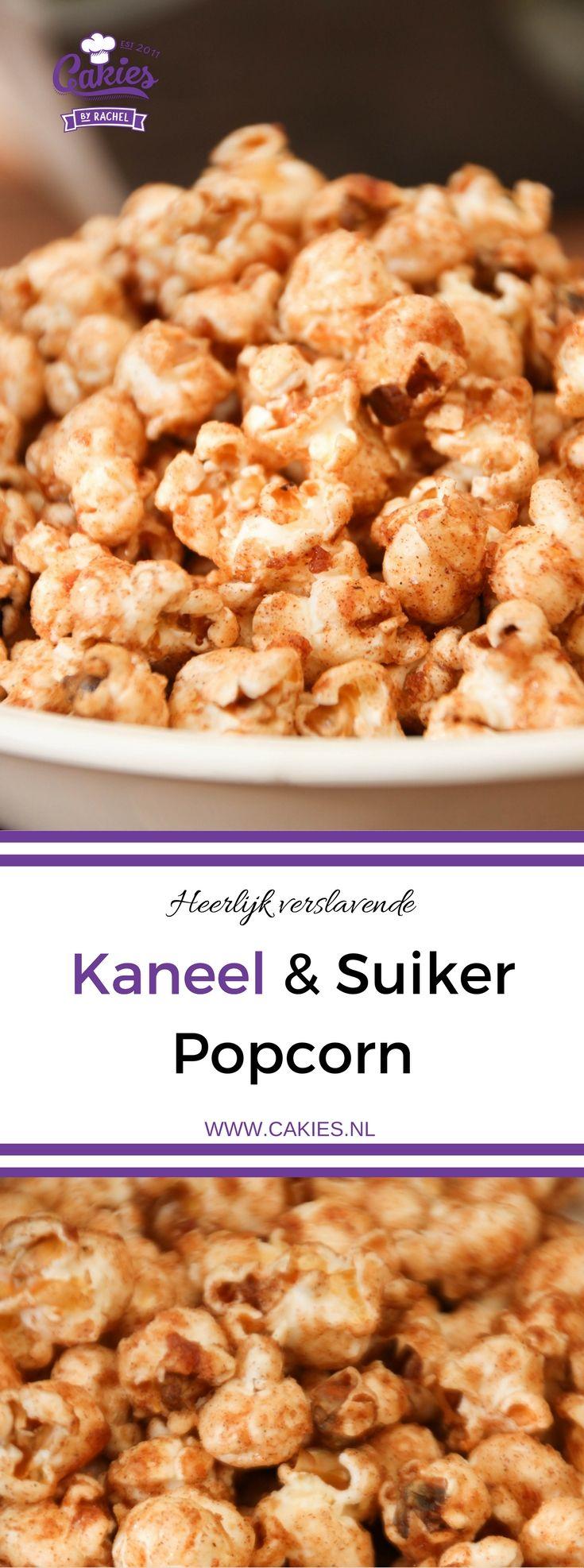 Verslavende Kaneel en Suiker Popcorn | Deze kaneel en suiker popcorn is zo lekker dat je niet zal kunnen stoppen met eten. Het is verslavend lekker! Een simpel en makkelijk recept. | http://www.cakies.nl