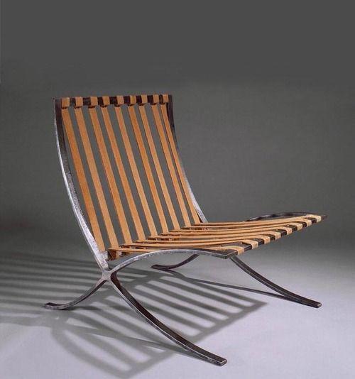 Ludwig Mies van der Rohe, chair Model 90, 1929. Hand-forged steel, hemp. Metal work: Joseph Müller, made by Berliner Metallgewerbe, Germany.