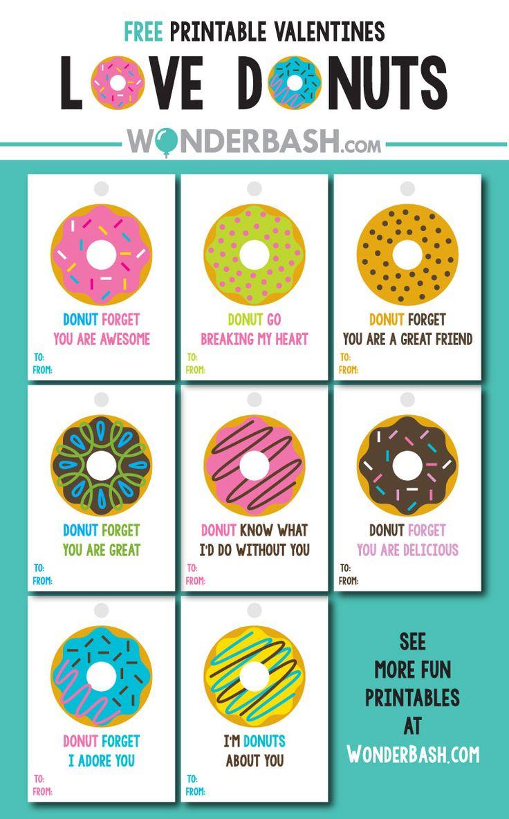 Donuts Valentines Labels Freebie Free Printable Download