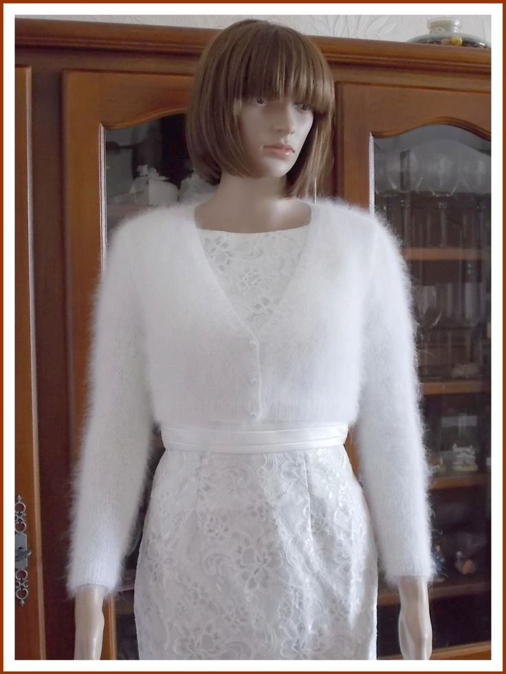 "SUR COMMANDE : Cardigan Boléro Angora Blanc ""Royal Wedding"""