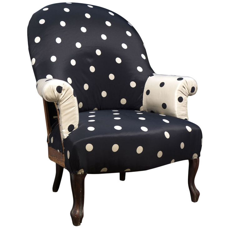 Primitive Chair Upholstered In Vintage Polka Dot Fabric