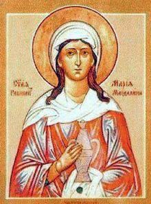 Mary Magdalene - She was the first person to see Jesus after his Resurrection,[3] according to both John 20 and Mark 16:9.    Mary Magdalene is considered by the Catholic, Orthodox, Anglican, and Lutheran churches to be a saint, with a feast day of July 22. The Eastern Orthodox churches also commemorate her on the Sunday of the Myrrhbearers.
