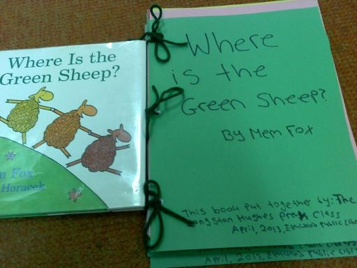 Storytime activity for Where is the Green Sheep by Mem Fox? Have kids color coloring sheets from story and paste together as take home book. Coloring pages from http://kizclub.com/storypatterns/greensheep.pdf