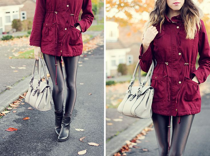Coated skinny jeans with Red Jacket