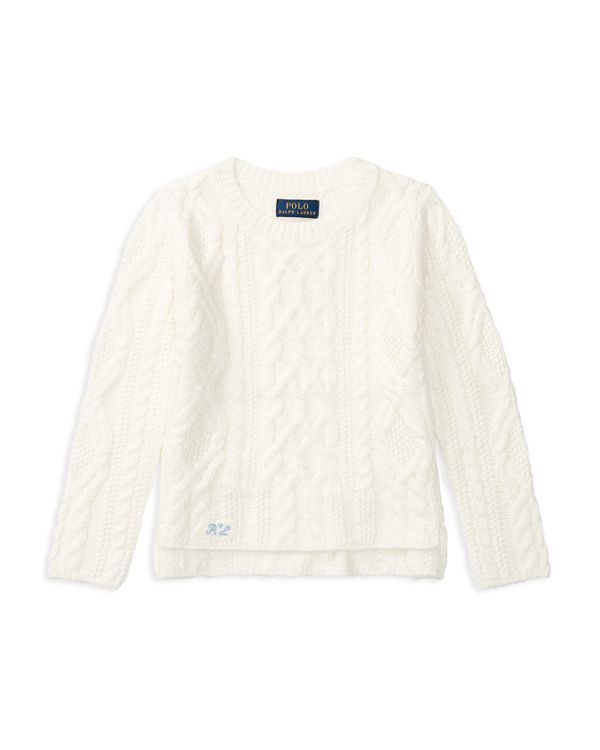Ralph Lauren Childrenswear Girls' Crewneck Aran Knit Sweater - Sizes 2-6X