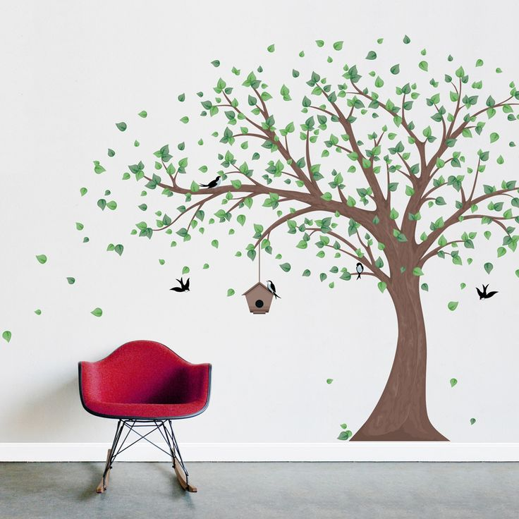 Printed Windy Tree with Birdhouse Wall Decal #wallums