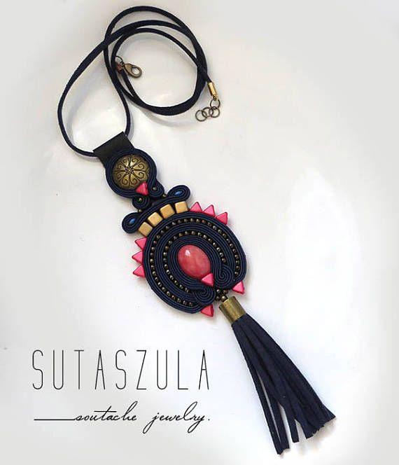 Boho navy blue coral colorful necklace soutache OOAK statement