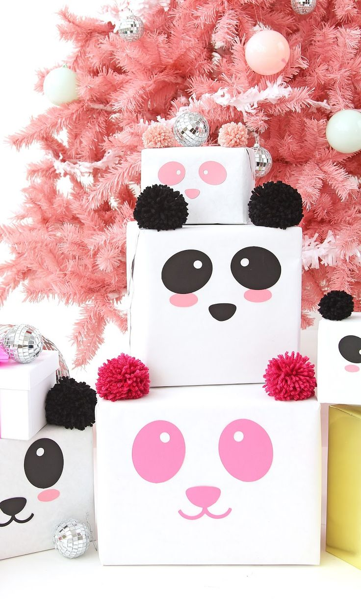 DIY Panda Gift Wrap On Keiko LynnMini Holiday Present Cakes On A Subtle RevelryMini Gingerbread House Place Cards On Brit   Co
