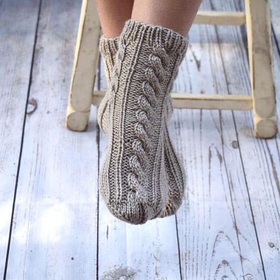 Hand knit socks cable knit socks bed socks dream beige neutral #cottage #knit #socks #bedsocks