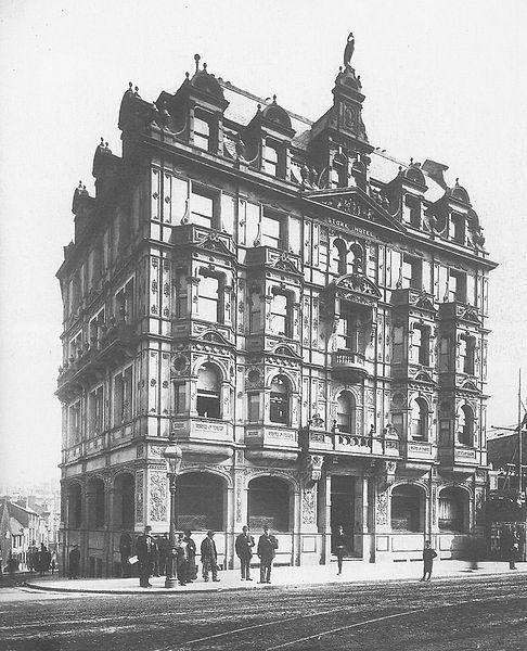 The Stork Hotel in Corporation Street, c.1883. One of the streets new buildings when the street was under construction in the 1880's. Built in 1883 by architect W.H. Ward in French Renaissance style. The building stood on what is now the corner of Corporation Street and Priory Queensway and was demolished in the 1960's to make way for the Priory Ringway and Priory Square development.