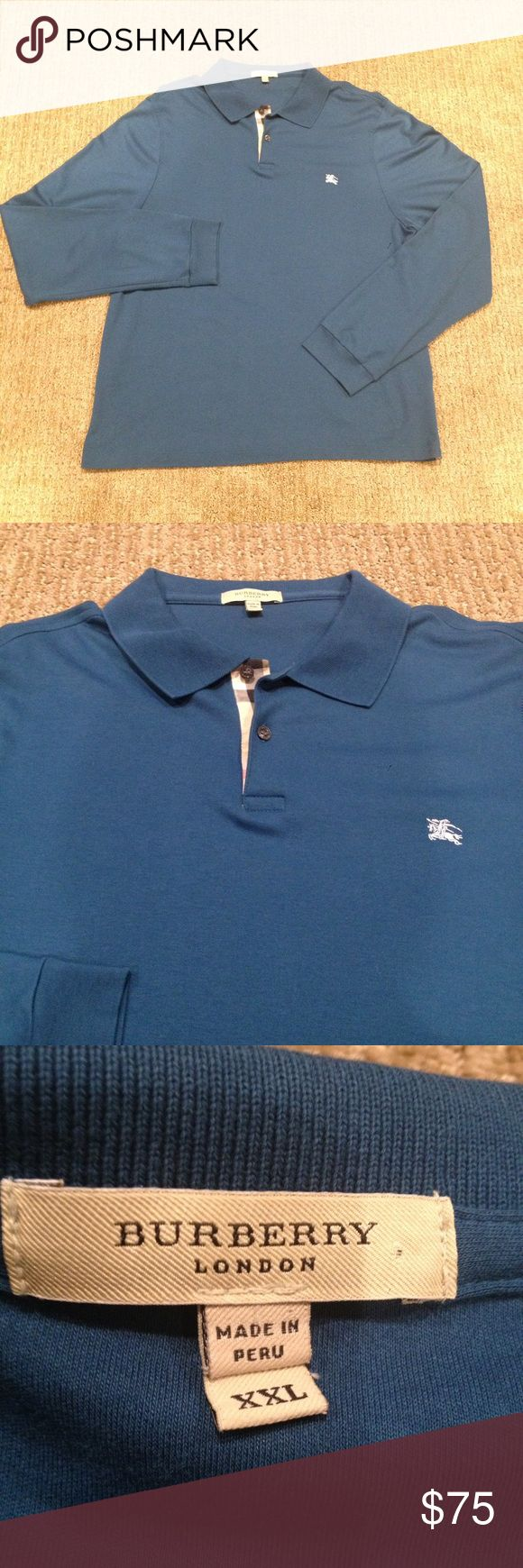 Men's Burberry Long Sleeve Polo XXL In great condition! Hardly wore. Has only been dry cleaned and still looks fairly new! Has no flaws. Men's XXL. 100% authentic! Fits like a XL. Burberry Shirts Polos