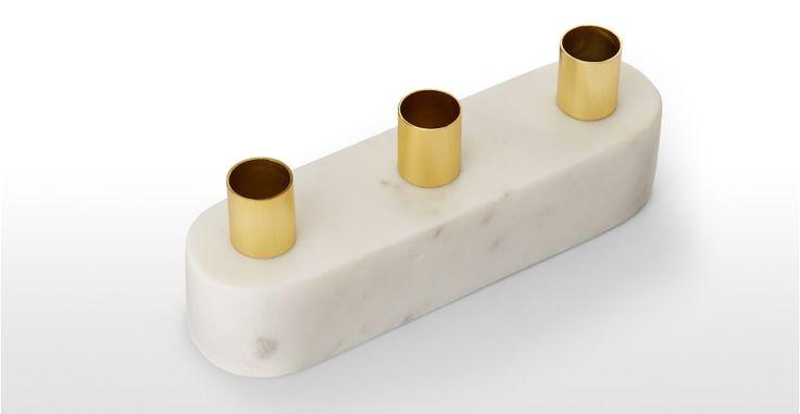 Elisa Marble & Shiny Brass Block Candelabra, White | made.com