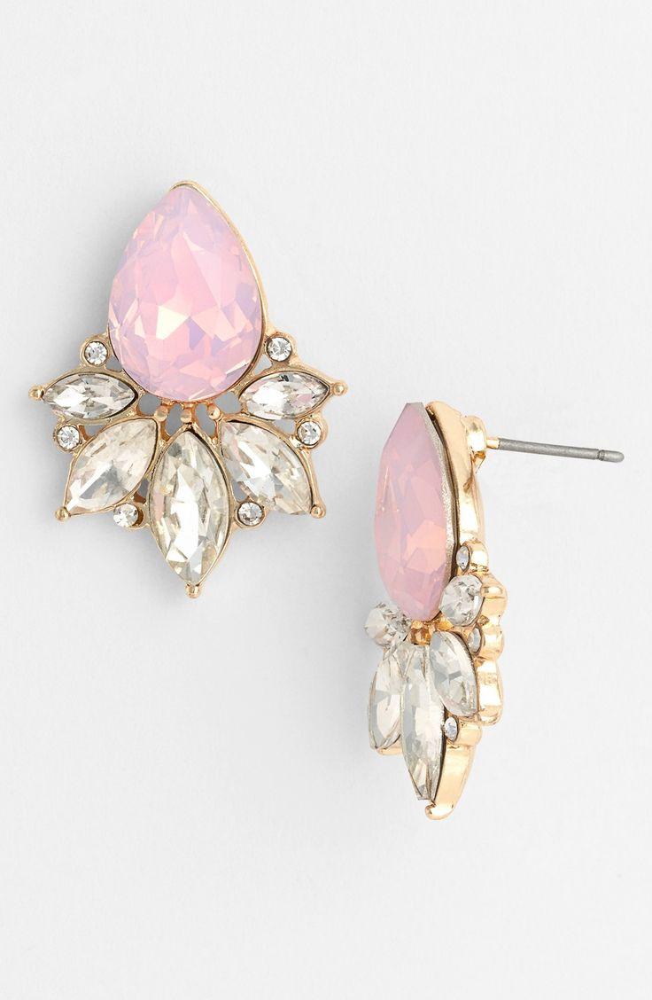 Pretty pink teardrop fan stud earrings for prom.