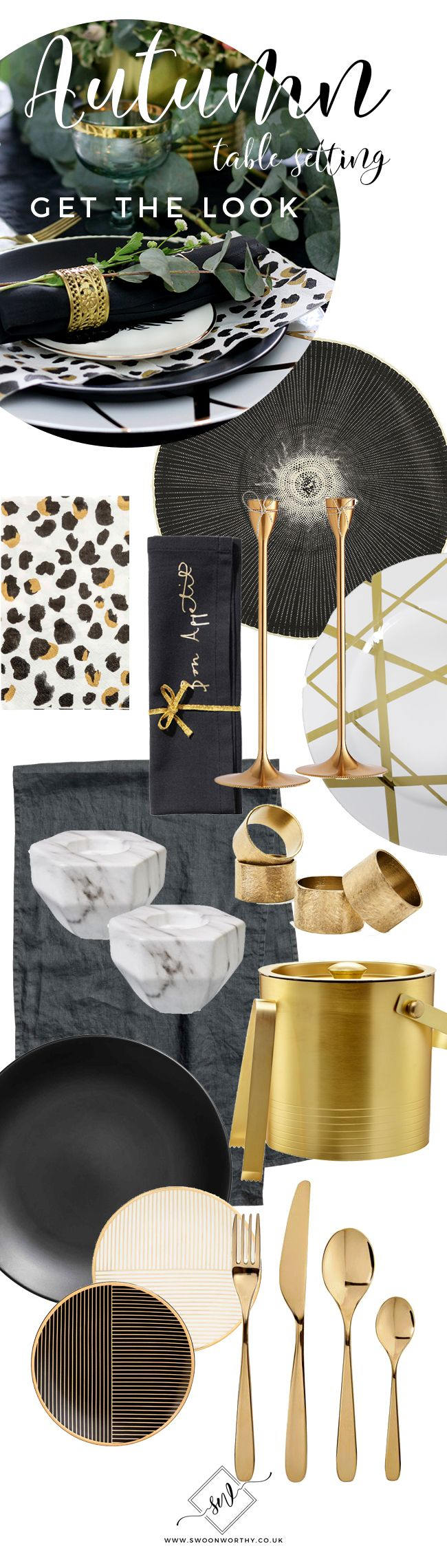 Autumn Table Get the Look Black White and Gold