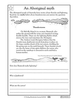 This myth is from the Aboriginal people of Australia. In this reading and writing worksheet, your child will read a short myth and then answer questions about the story.