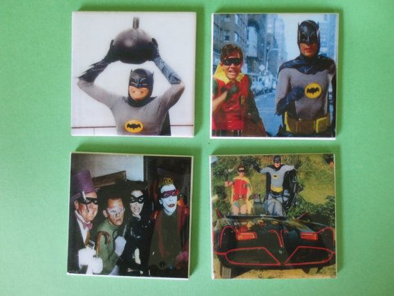 Old Batman adam west movie coasters. Hey, I found this really awesome Etsy listing at https://www.etsy.com/listing/197586602/batman-adam-west-burt-ward-4-pc-coaster