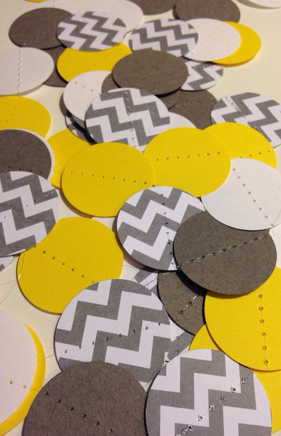 10+ Feet Long! Bright Yellow and Gray and White Chevron Paper Garland Birthday Party Decor, Baby Shower Decor, Nursery Decor, Wedding Etc! on Etsy, $8.00