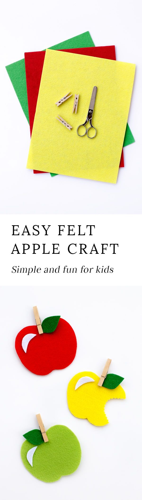 Sweet and simple, this Felt Apple Craft is fun for kids of all ages. Colorful felt apples can be used as gift tags, refrigerator magnets, holiday ornaments, or fall decor. They are even cute for a child's play kitchen! This post includes a free printable template. via @https://www.pinterest.com/fireflymudpie/